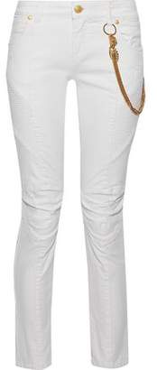 Pierre Balmain Moto-Style Embellished Distressed Low-Rise Skinny Jeans