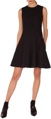 Akris Punto Sleeveless Press-Button Fit-and-Flare Pique Jersey Dress