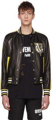 Givenchy Black and Yellow Leather Varsity Jacket