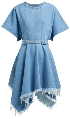 Marques Almeida Marques'almeida - Handkerchief Hem Belted Denim Mini Dress - Womens - Denim