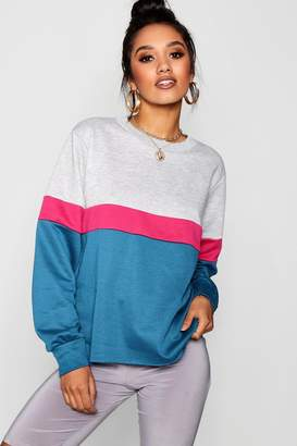 boohoo Petite Colour Block Sweat Top