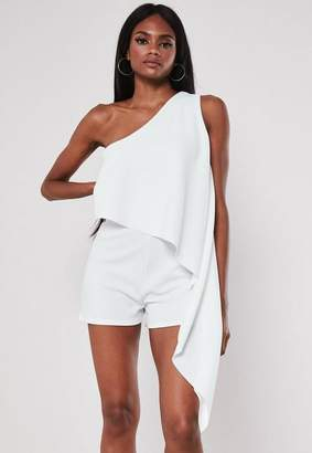 Missguided White One Shoulder Drape Romper
