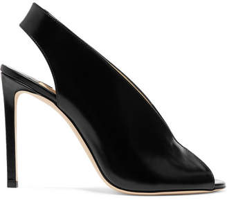 Jimmy Choo Shar 100 Glossed-leather Slingback Pumps