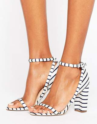 Office Stripes Barely There Heeled Sandals $116 thestylecure.com