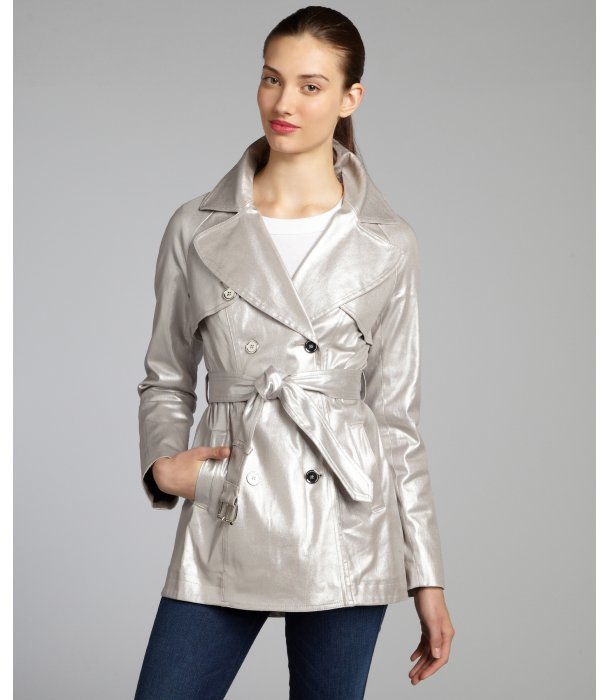 Dawn Levy metallic silver cotton twill 'Max' short trench coat