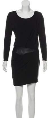 The Kooples Leather-Trimmed Mini Dress w/ Tags