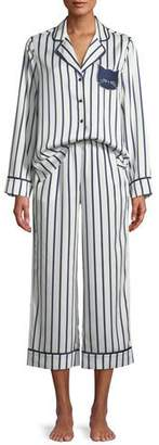 Kate Spade Striped Cropped Pajama Set With Cat Face Detail