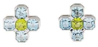 Goshwara 18K Aquamarine & Peridot Gossip Clip-On Earrings