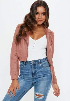 Missguided Mauve Crop Suedette Biker Jacket