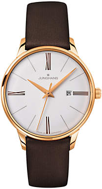 Junghans 047/757100 Women's Meister Date Leather Strap Watch, Dark Brown/White