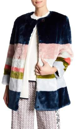 Ted Baker Mississippi Colorblock Faux Fur Coat