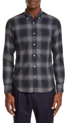 Officine Generale Shadow Plaid Flannel Button-Down Shirt