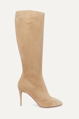 Christian Louboutin Eloise 85 Suede Knee Boots - Beige