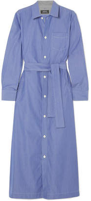 A.P.C. Millie Striped Cotton-poplin Midi Shirt Dress - Blue