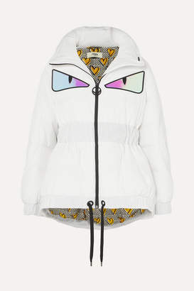 Fendi Appliquéd Quilted Down Jacket - White