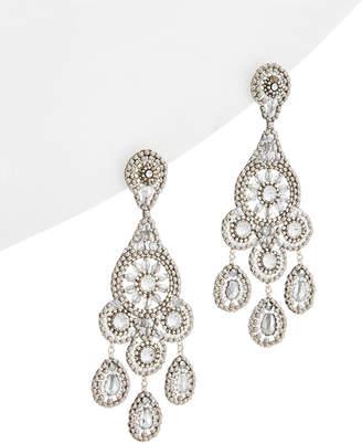 Miguel Ases Silver Crystal Drop Earrings