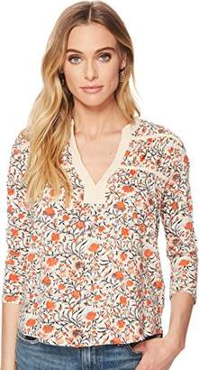 Lucky Brand Women's Long Sleeve Floral TIE TOP
