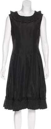 Oscar de la Renta Cable Knit Trimmed Midi Dress