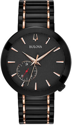 Bulova Limited Edition Men Special Latin Grammy Edition Dress Black & Rose Gold-Tone Stainless Steel Bracelet Watch 42mm