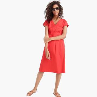 J.Crew Short-sleeve V-neck midi dress in cotton poplin