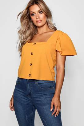 boohoo Plus Horn Button Detail Ruffle Top