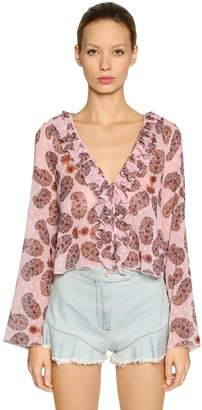 Giamba Ruffled Printed Georgette Blouse