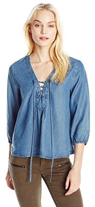 Buffalo David Bitton Women's Taisie Chambray Lace-Up Top with 3/4 Sleeves $69 thestylecure.com