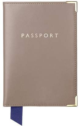 Aspinal of London Plain Passport Cover In Smooth Taupe