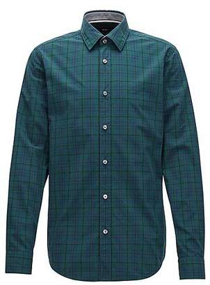 Outlet View Best Wholesale Cheap Price Checked shirt in pure cotton with rubber-print panel BOSS Clearance View Outlet Wiki VMwkUfNYt