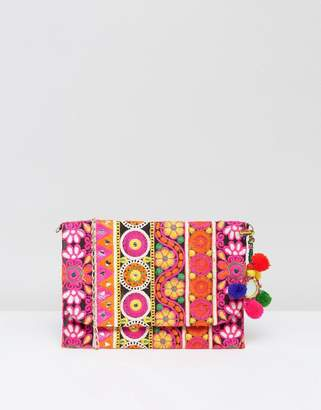 Park Lane Embroidered Clutch Bag With Pom Pom Detail And Detachable Strap