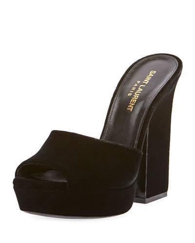 Saint Laurent Debbie Velvet Platform Slide Sandal, Black