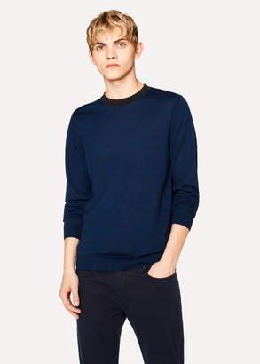 Paul Smith Men's Navy Marl Merino-Wool Sweater With Contrast Collar