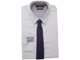 Nick Graham Pencil Strip Stretch Dress Shirt with Micro Neat Tie Men's Long Sleeve Button Up