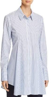 Donna Karan Pinstriped Button-Down Flare Top