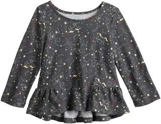 Baby Girl Jumping Beans Patterned High-Low Ruffle Sleeve Tee