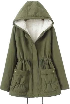 Vedem Women's Winter Drawstring Military Hooded Fleece Lining Parka Coat (2XL, )