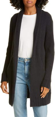 James Perse Open Front Ribbed Cashmere Cardigan