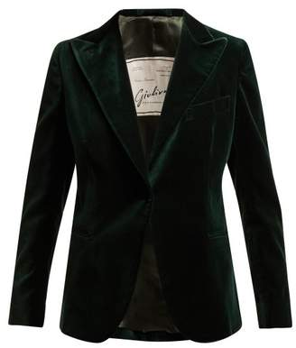 Giuliva Heritage Collection - The Other Smoking Single Breasted Velvet Blazer - Womens - Dark Green