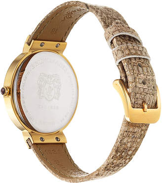 Bruno Magli 36mm Isabella Lizard Watch, Taupe/Gold