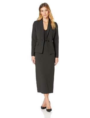 Le Suit LeSuit Women's 2 Button Shawl Collar Pinstripe Skirt Suit