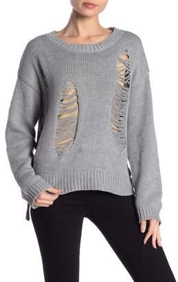 Peach Love California Distressed Knit Sweater