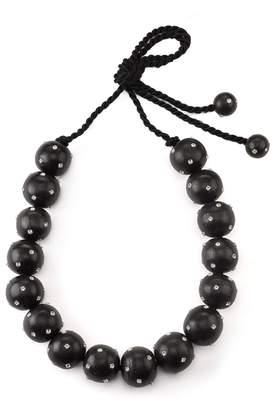 Natori Josie Acacia Wood With Silver Long Round Necklace