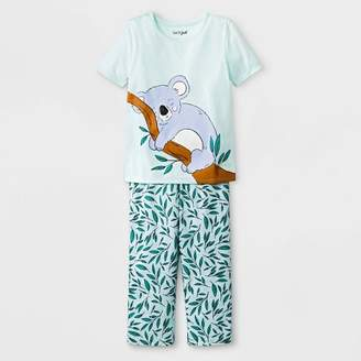 Cat & Jack Toddler Girls' Koala Jersey with Leaf Printed Bottom Pajama Set Light Green