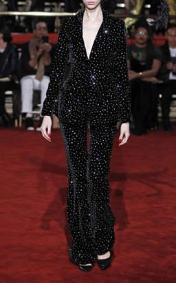 Christian Siriano Crystal Velvet Single Button Blazer