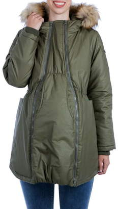 Modern Eternity Sofia Waxed 3-in-1 Maternity/Nursing Jacket with Faux Fur Trim