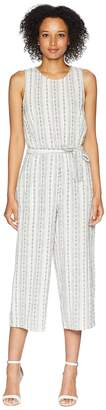 Vince Camuto Sleeveless Linen Slub Stripe Belted Jumpsuit Women's Jumpsuit & Rompers One Piece