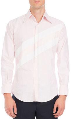 Thom Browne Diagonal-Stripe Oxford Shirt $490 thestylecure.com