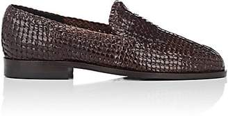 Barneys New York MEN'S WOVEN LEATHER LOAFERS - DK. BROWN SIZE 11 M