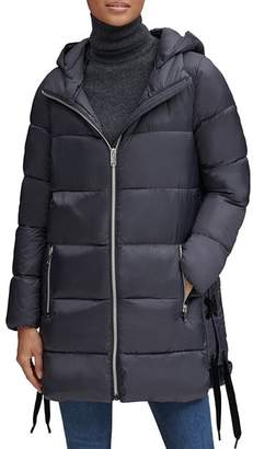 Andrew Marc Packable Lightweight Side Lace-Up Puffer Coat