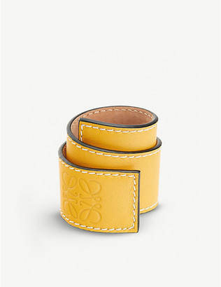 Loewe Logo-embossed leather slap bracelet